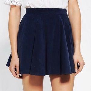 American Apparel Corduroy High Waisted Circle Skater Mini Skirt Navy